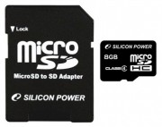 Silicon Power 8GB microSDHC Class 4+adapter (SP008GBSTH004V10-SP)