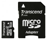 Transcend 16GB NAND Flash Micro SDHC Class 6 with SD adapter (TS16GUSDHC6)
