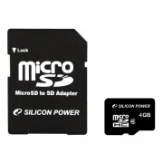 Silicon Power 4GB microSDHC Class 4+adapter (SP004GBSTH004V10-SP)